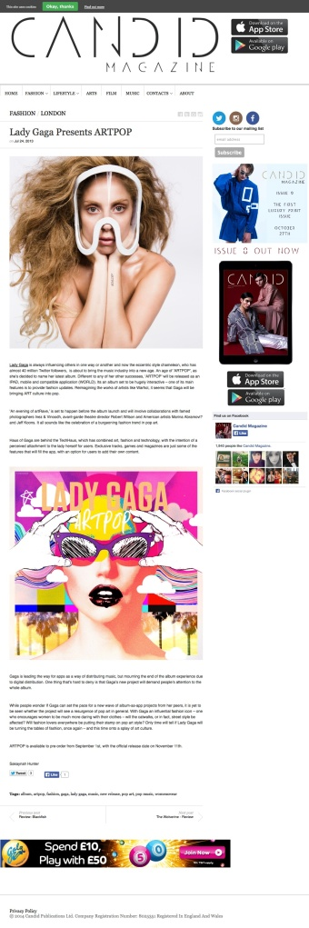 Lady Gaga Presents ARTPOP | Candid Magazine
