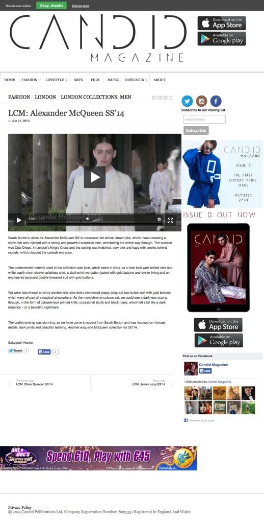 LCM: Alexander McQueen SS'14 | Candid Magazine