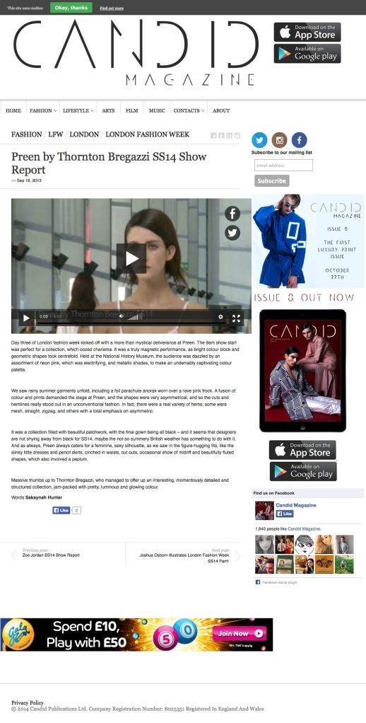 Preen by Thornton Bregazzi SS14 Show Report | Candid Magazine