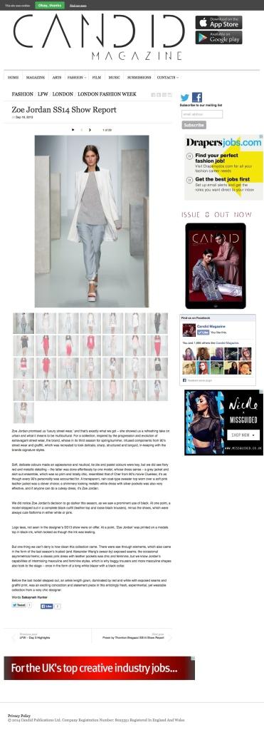 Zoe Jordan SS14 Show Report | Candid Magazine